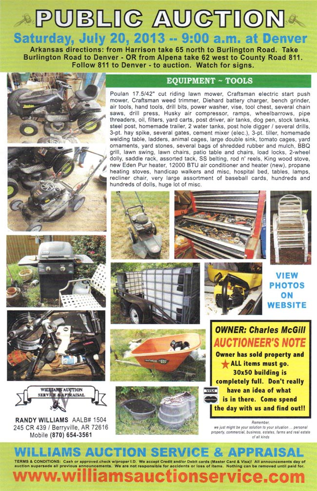 July 20 2013 Auction