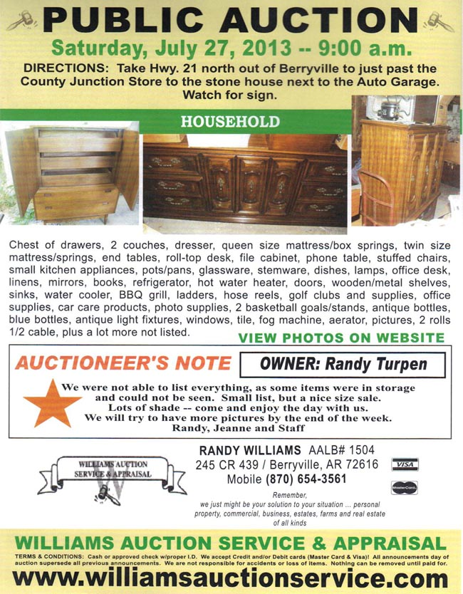 Auction Jkuly 27 Noerthwest Arkansas